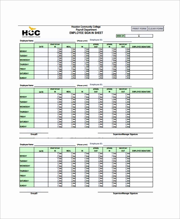 Office Sign In Sheet Template New 16 Employee Sign In Sheets