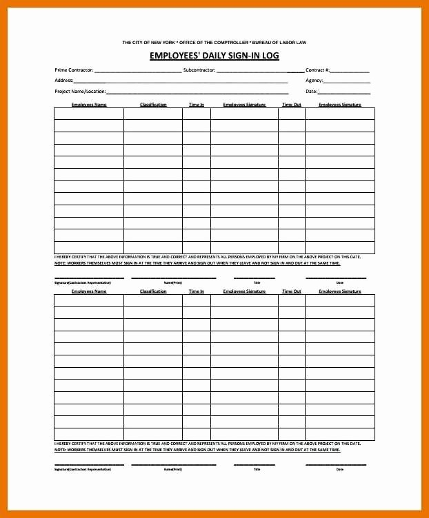 Office Sign In Sheet Template Unique 7 8 Employee Signin