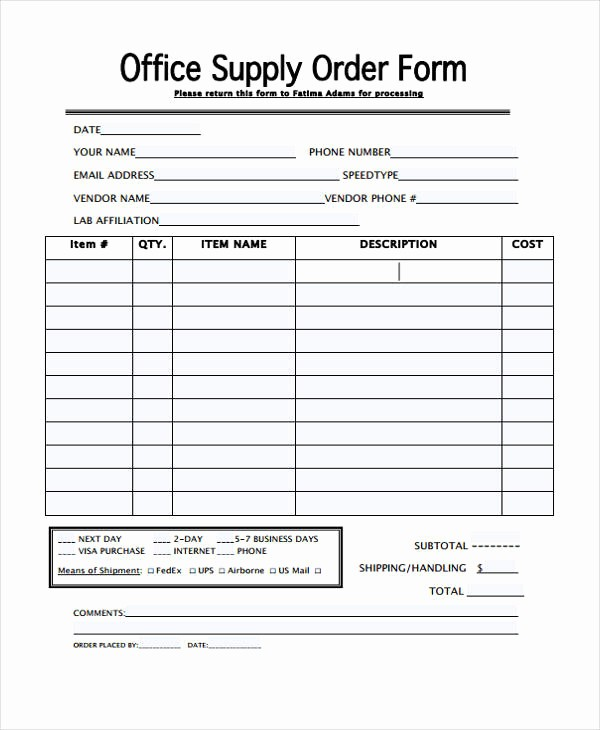 Office Supply order List Template Lovely 29 Blank order Templates