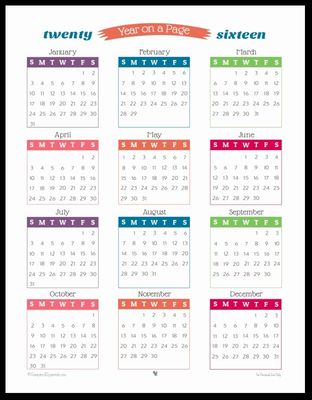 One Page 12 Month Calendar Awesome 12 Month 2016 Calendar E Page Free Calendar Template