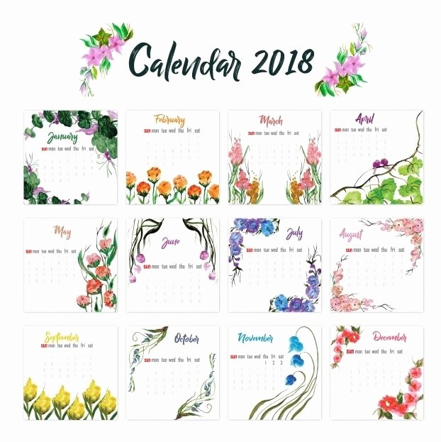 One Page 12 Month Calendar Beautiful 12 Month Calendar 2018 On E Page Twelve Month Printable