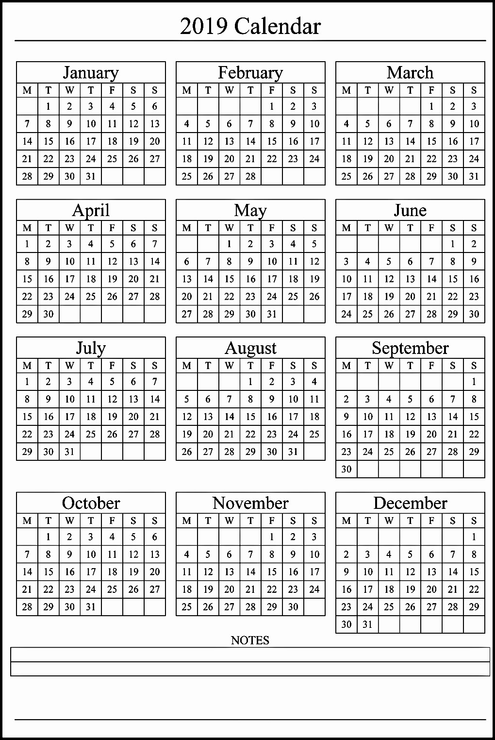 One Page 12 Month Calendar Beautiful Free 2019 E Page Calendar Printable Download