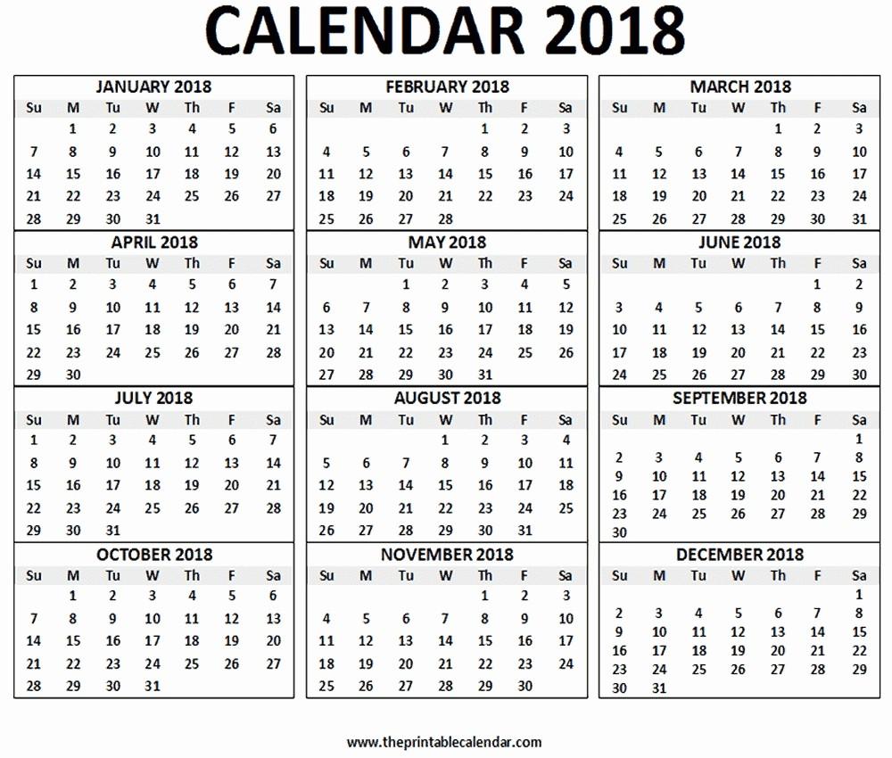 One Page 12 Month Calendar Fresh 2018 12 Month Calendar Printable E Page – Calendar