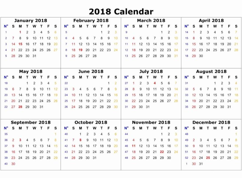 One Page 12 Month Calendar Inspirational 12 Month Calendar Template 2018