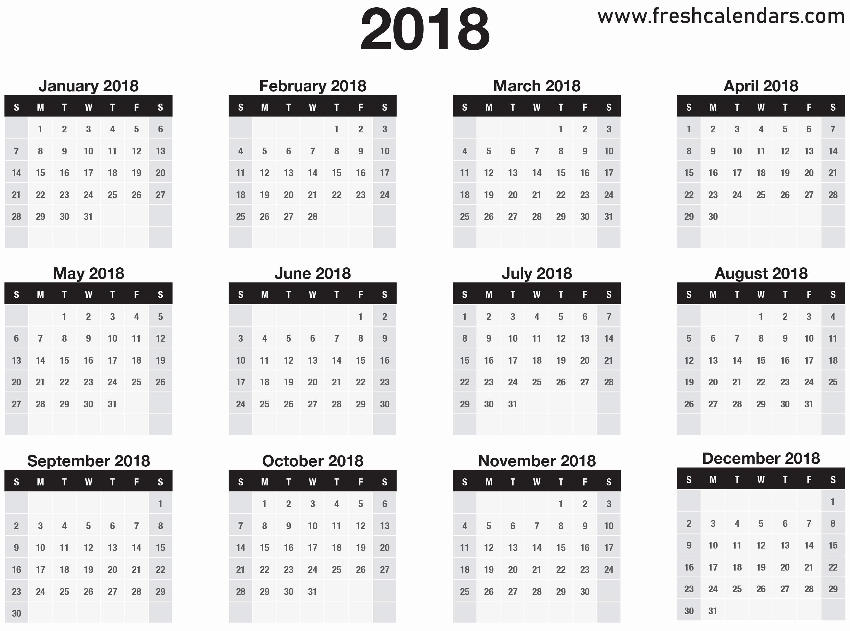 One Page 12 Month Calendar Inspirational 2018 Calendar