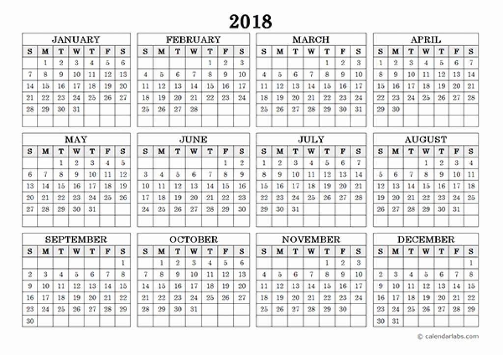 One Page 12 Month Calendar Inspirational 2018 Single Page 12 Month Calendar