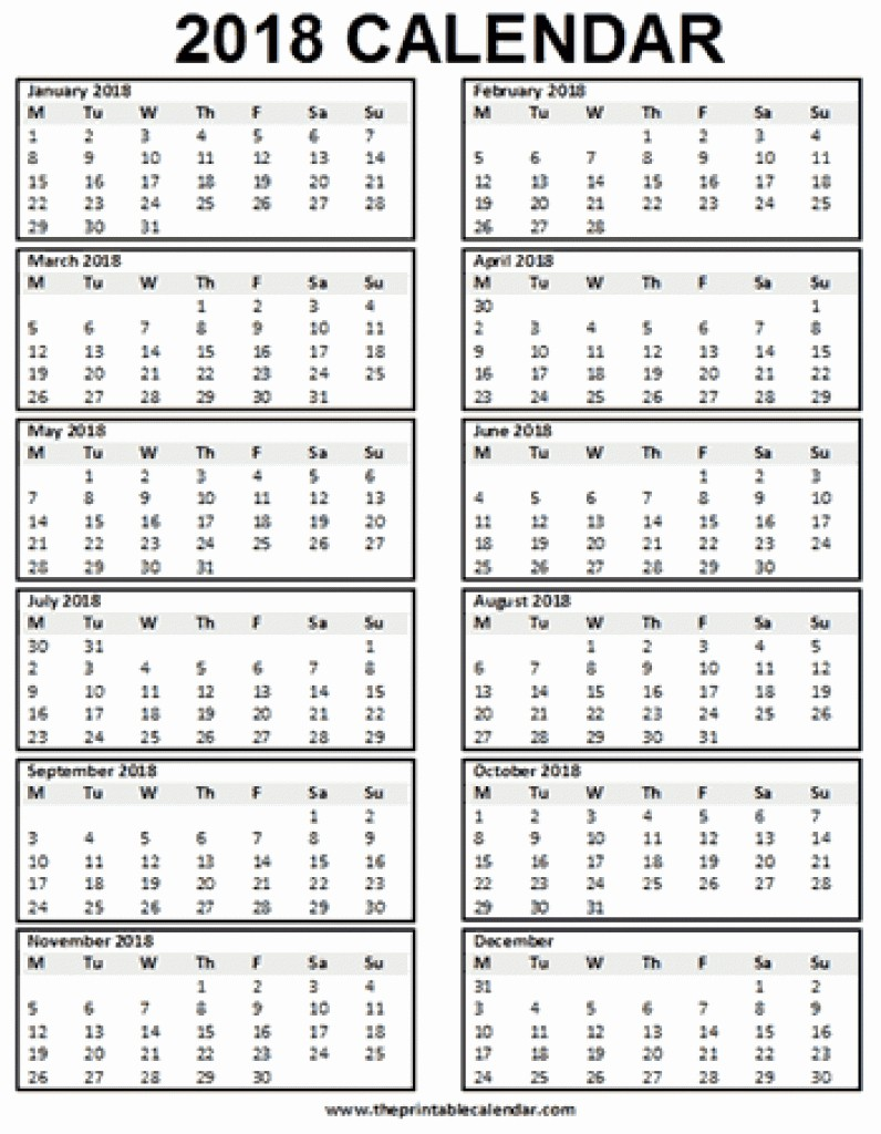 One Page 12 Month Calendar Lovely 2018 Single Page 12 Month Calendar