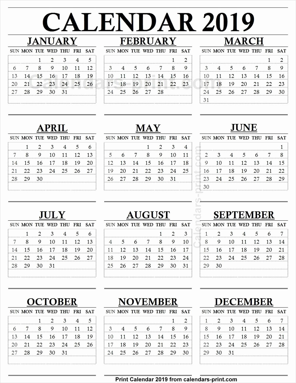 One Page 12 Month Calendar Luxury 12 Month Calendar 2019 E Page