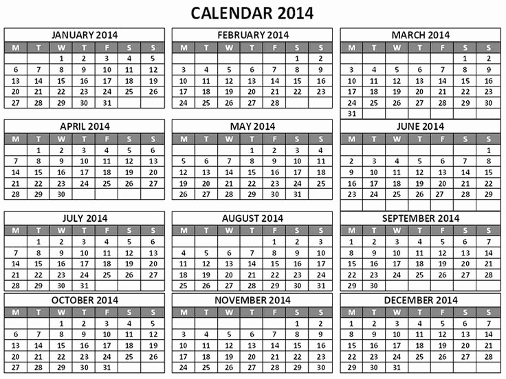 """One Page 12 Month Calendar Luxury Search Results for """"12 Month Calendar E Page 2014"""