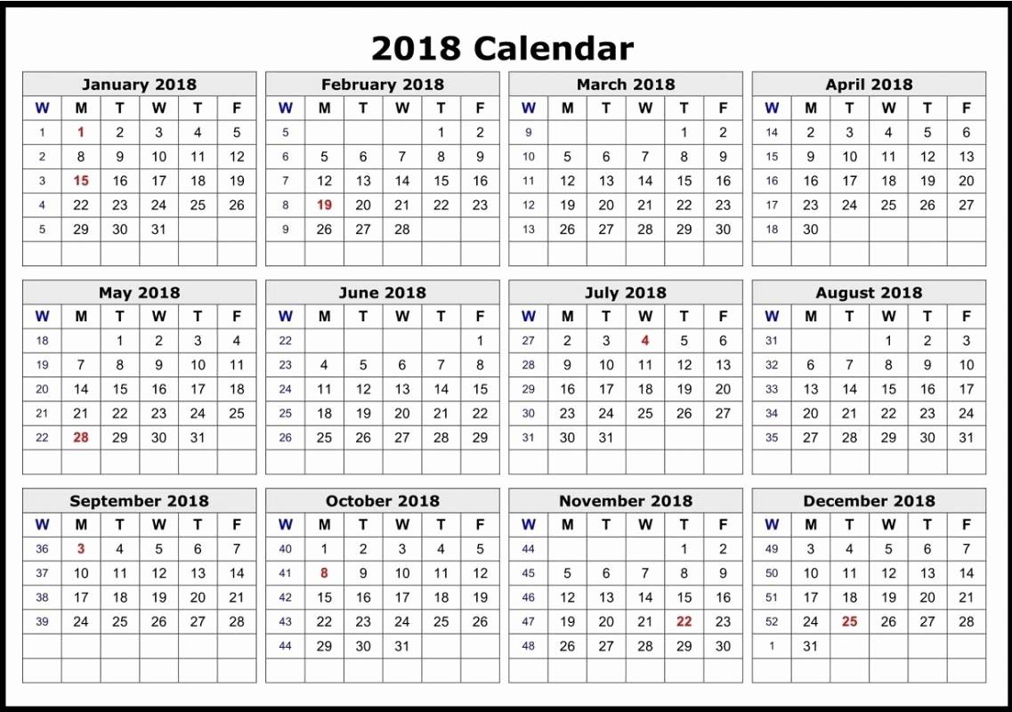 One Page 12 Month Calendar Unique 2018 Calendar 12 Months E Page