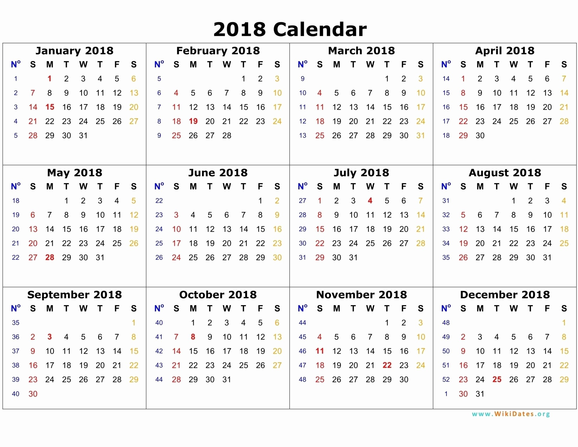2018 calendar 12 months on one page