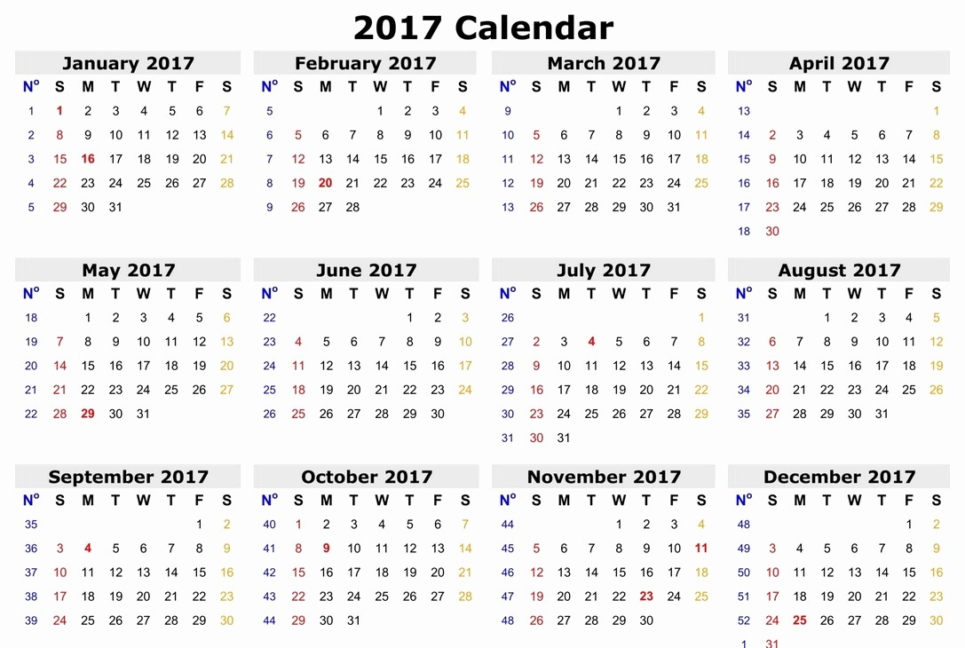 One Page Annual Calendar 2017 Awesome 2017 Calendar E Page