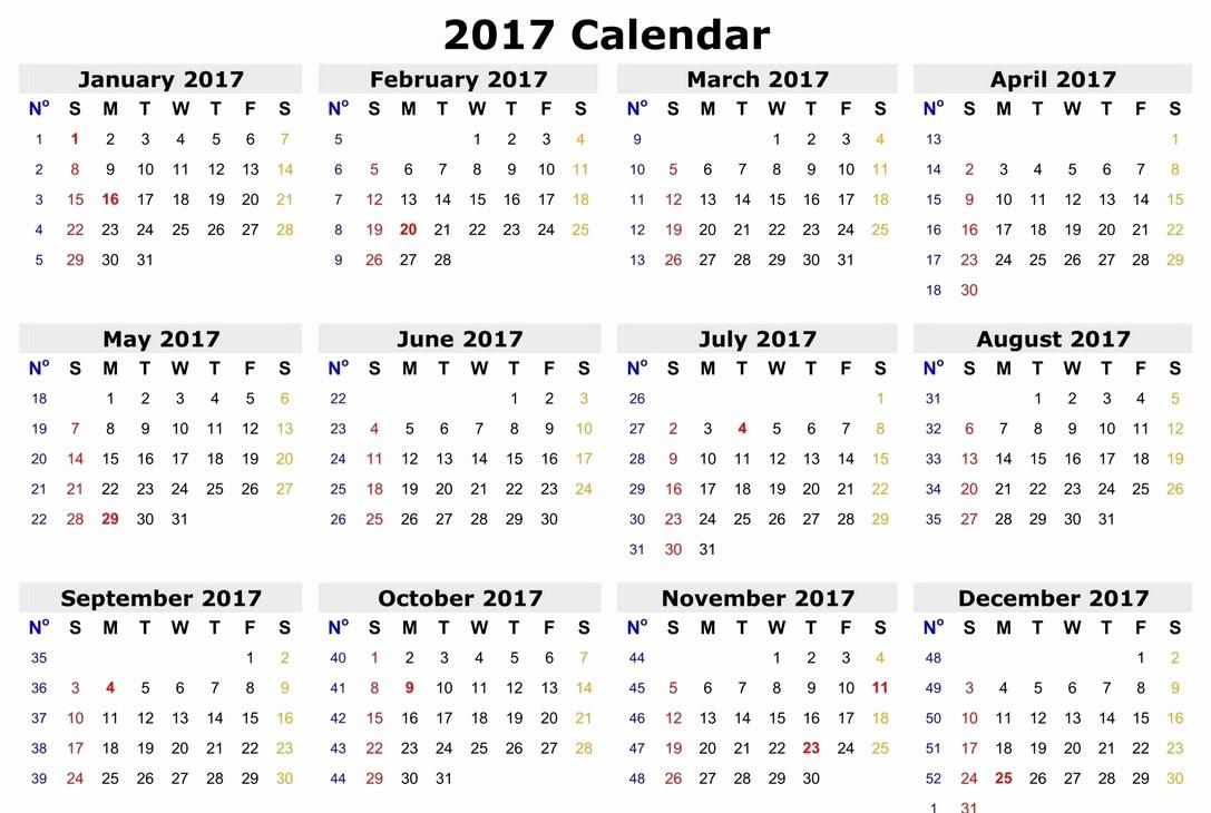 One Page Annual Calendar 2017 Awesome 2017 Calendar E Page