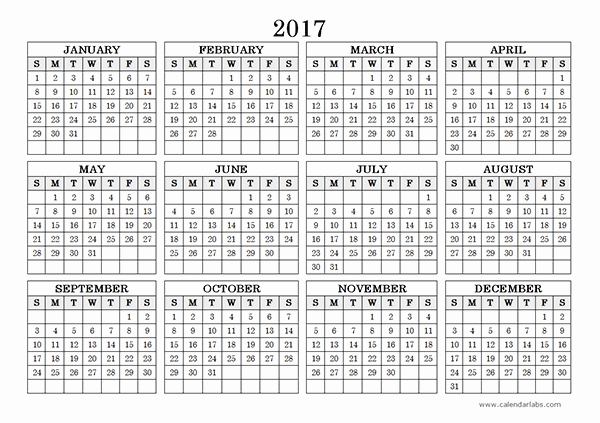 One Page Annual Calendar 2017 Awesome 2017 Yearly Calendar Landscape 09 Free Printable Templates