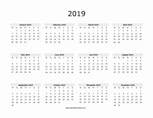 One Page Annual Calendar 2017 Beautiful 2019 Calendar E Page
