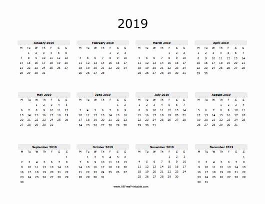 One Page Annual Calendar 2017 Beautiful 2019 Calendar E Page