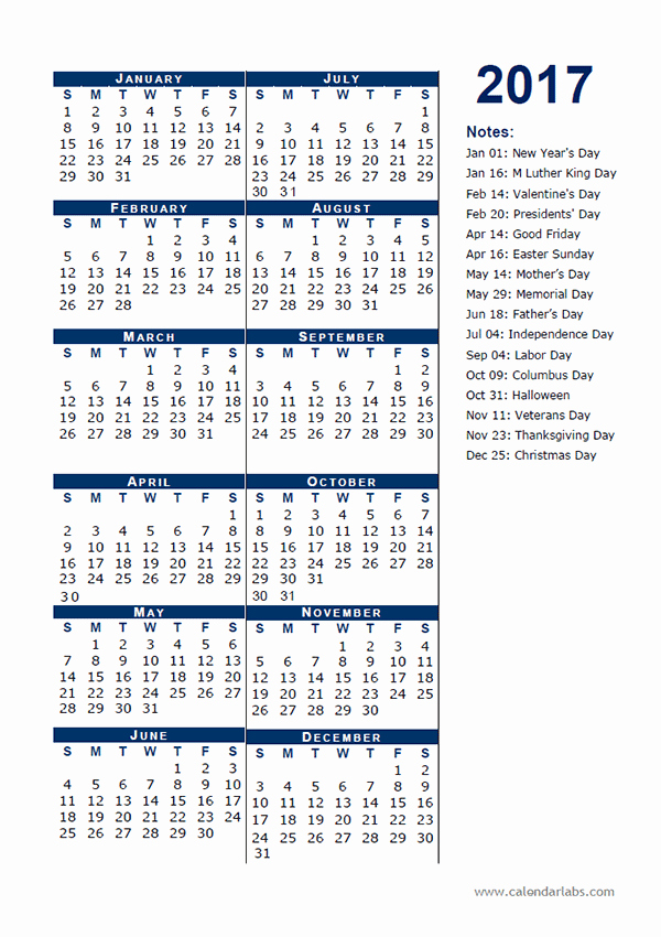 One Page Annual Calendar 2017 Best Of 2017 Calendar Template Half Page Free Printable Templates