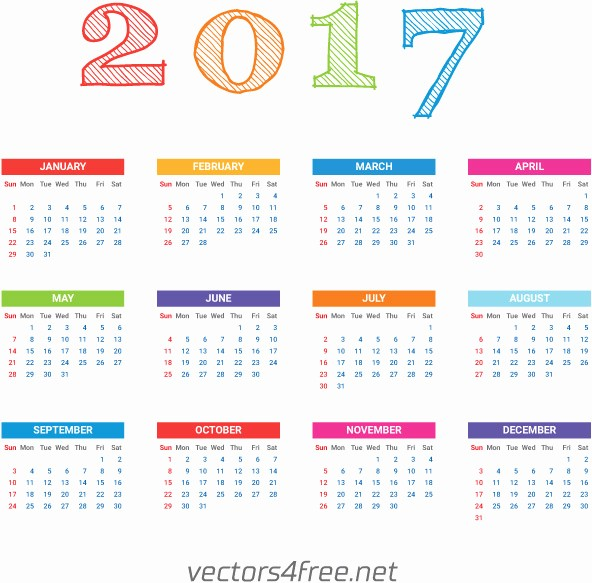 One Page Annual Calendar 2017 Elegant 2017 Calendar Template Vector Free Vector In Adobe