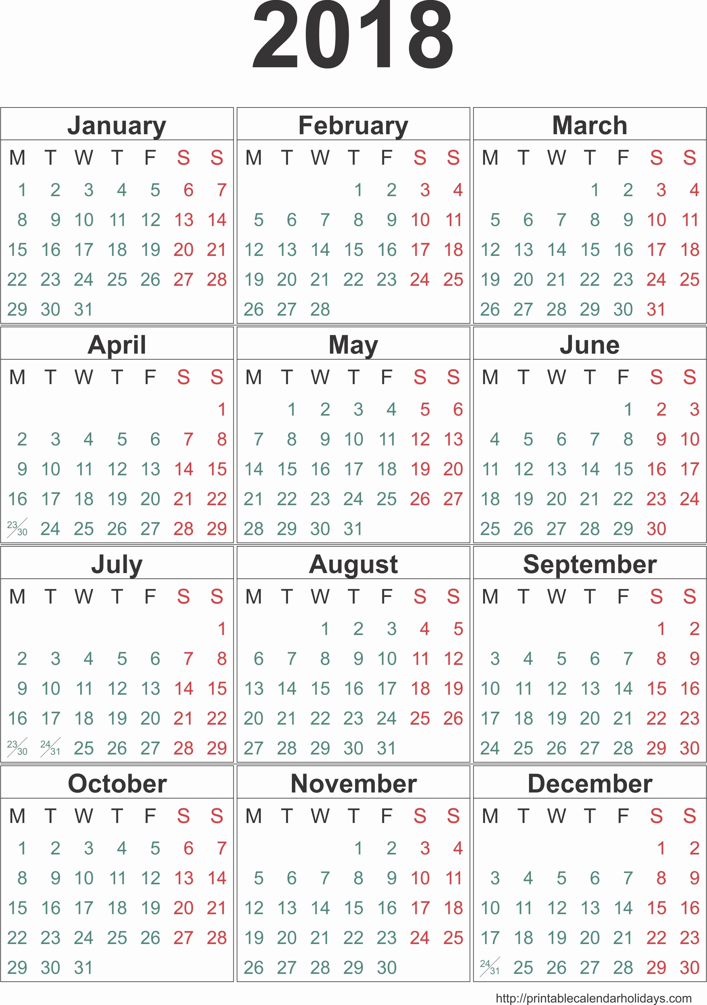 One Page Annual Calendar 2017 Fresh 12 Month Calendar E Page 2018 – Calendar Printable