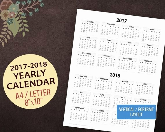 One Page Annual Calendar 2017 Fresh 2017 2018 Yearly Calendar Vertical Wall Calendar Desktop