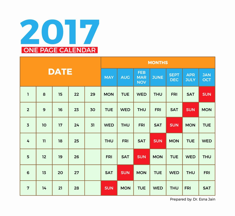 One Page Annual Calendar 2017 Fresh 2017 Calendar E Page – Month Printable Calendar