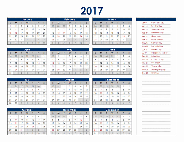 One Page Annual Calendar 2017 Fresh 2017 Excel Yearly Calendar Free Printable Templates