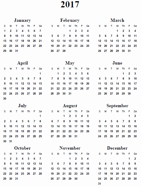 One Page Annual Calendar 2017 Fresh 7 Best Of 2017 Yearly Calendar Printable E Page