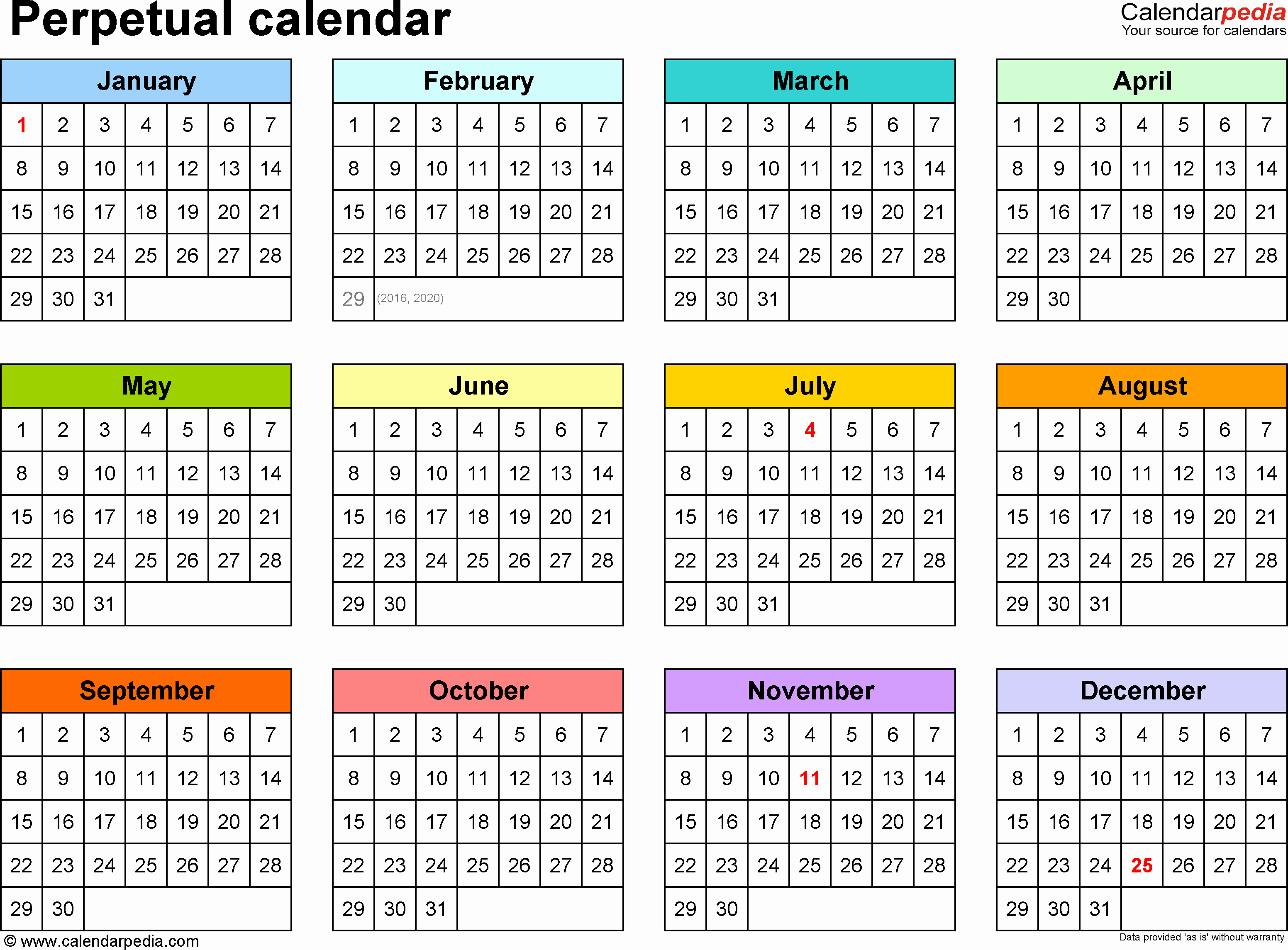 One Page Annual Calendar 2017 Fresh Perpetual Calendars 7 Free Printable Word Templates