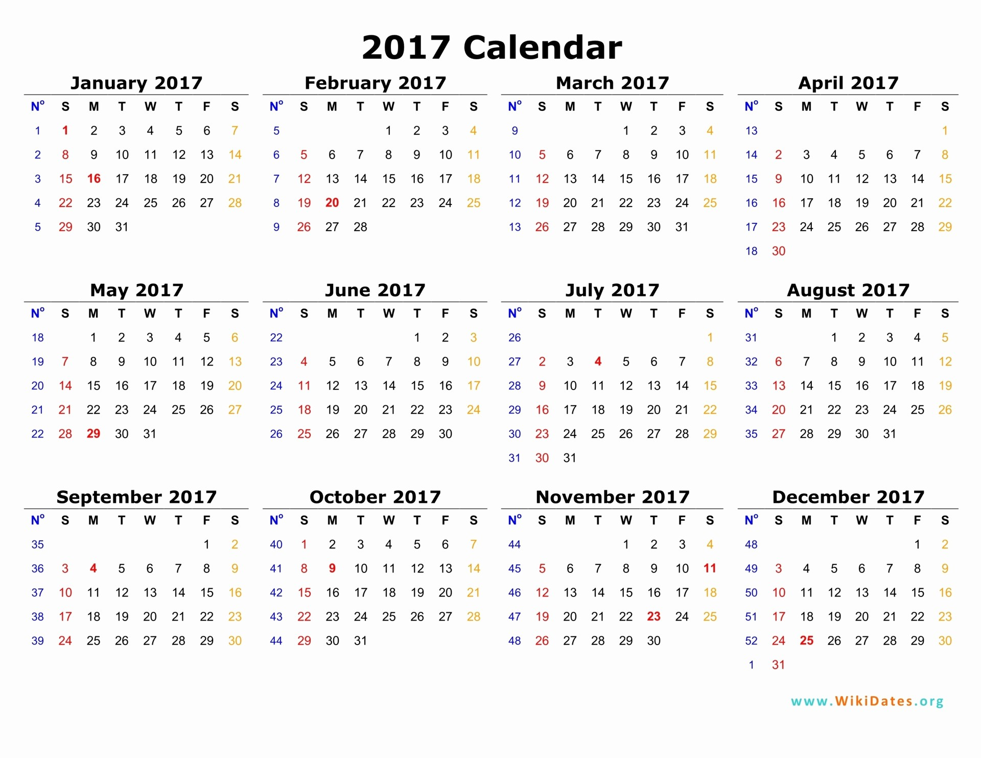 One Page Annual Calendar 2017 Inspirational 2017 Calendar
