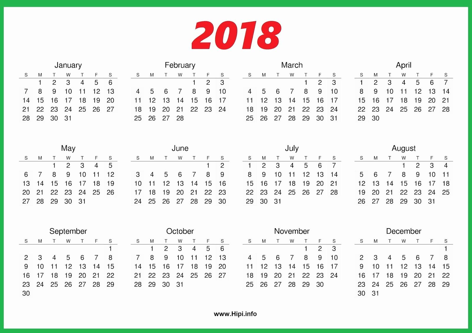 One Page Annual Calendar 2017 Inspirational 2018 Calendar E Page
