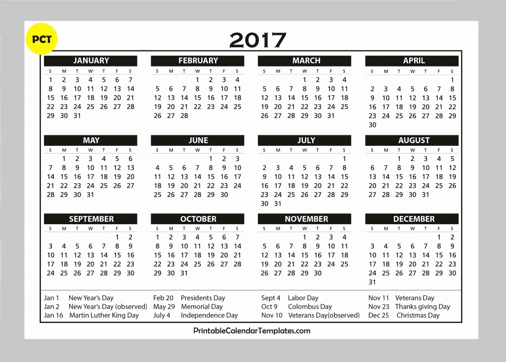 "One Page Annual Calendar 2017 Lovely Search Results for ""2017 Yearly Calendar Printable E"