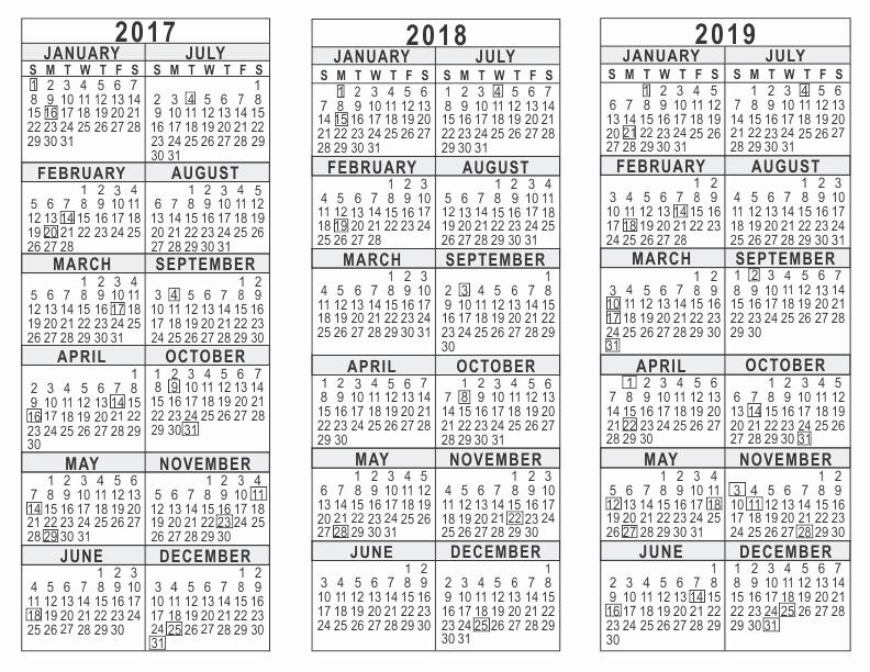 One Page Annual Calendar 2017 Luxury 2017 2018 2019 3 Year Calendar