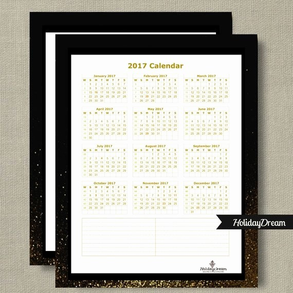 One Page Annual Calendar 2017 Luxury Yearly E Page 2017 Calendar 8x10 2017 Wall by Holidaydream