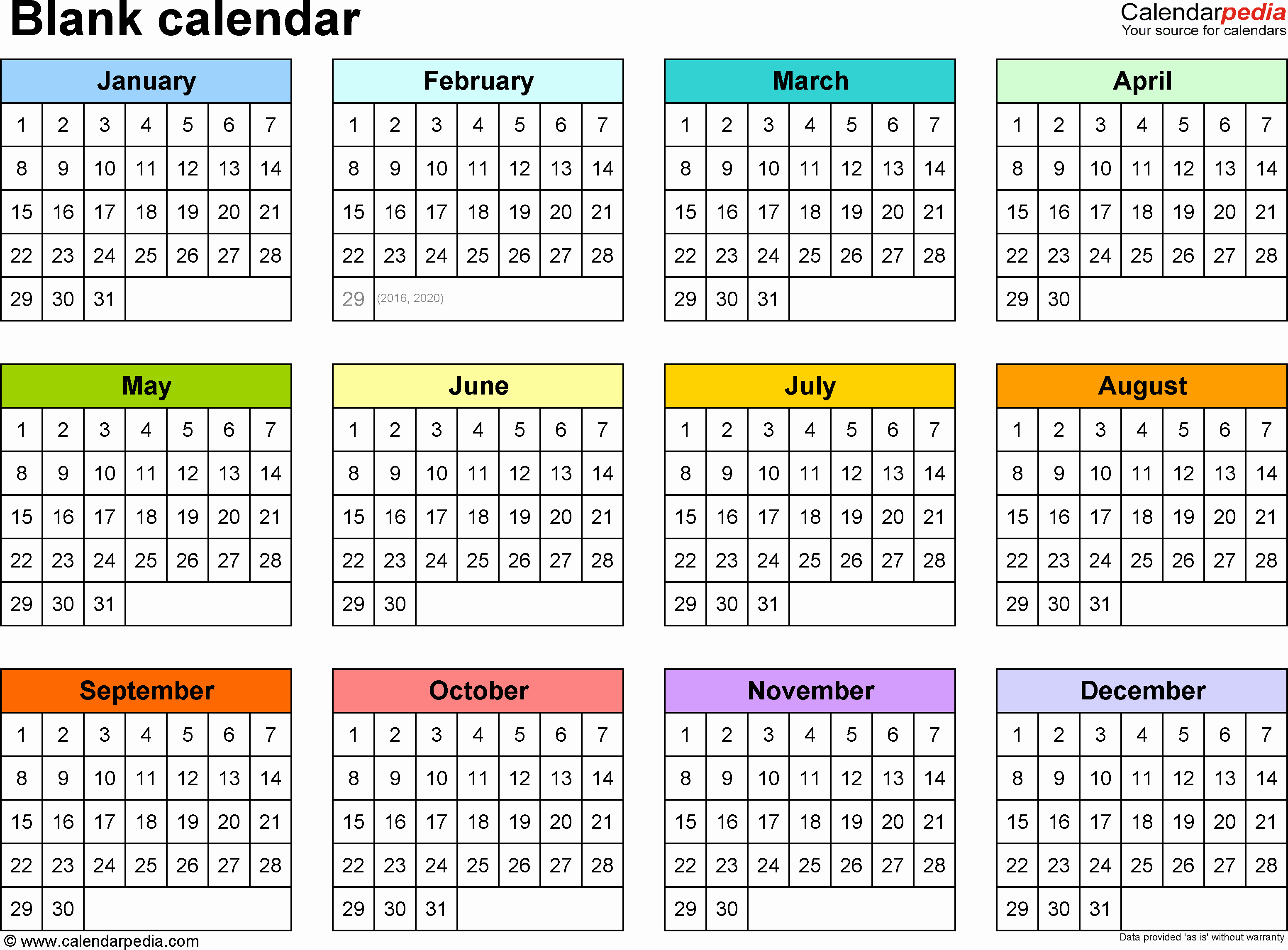 One Page Annual Calendar 2017 New Yearly Calendar Printable