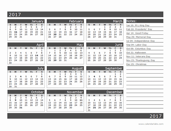 One Page Annual Calendar 2017 Unique 2017 12 Month Calendar Template E Page Free Printable