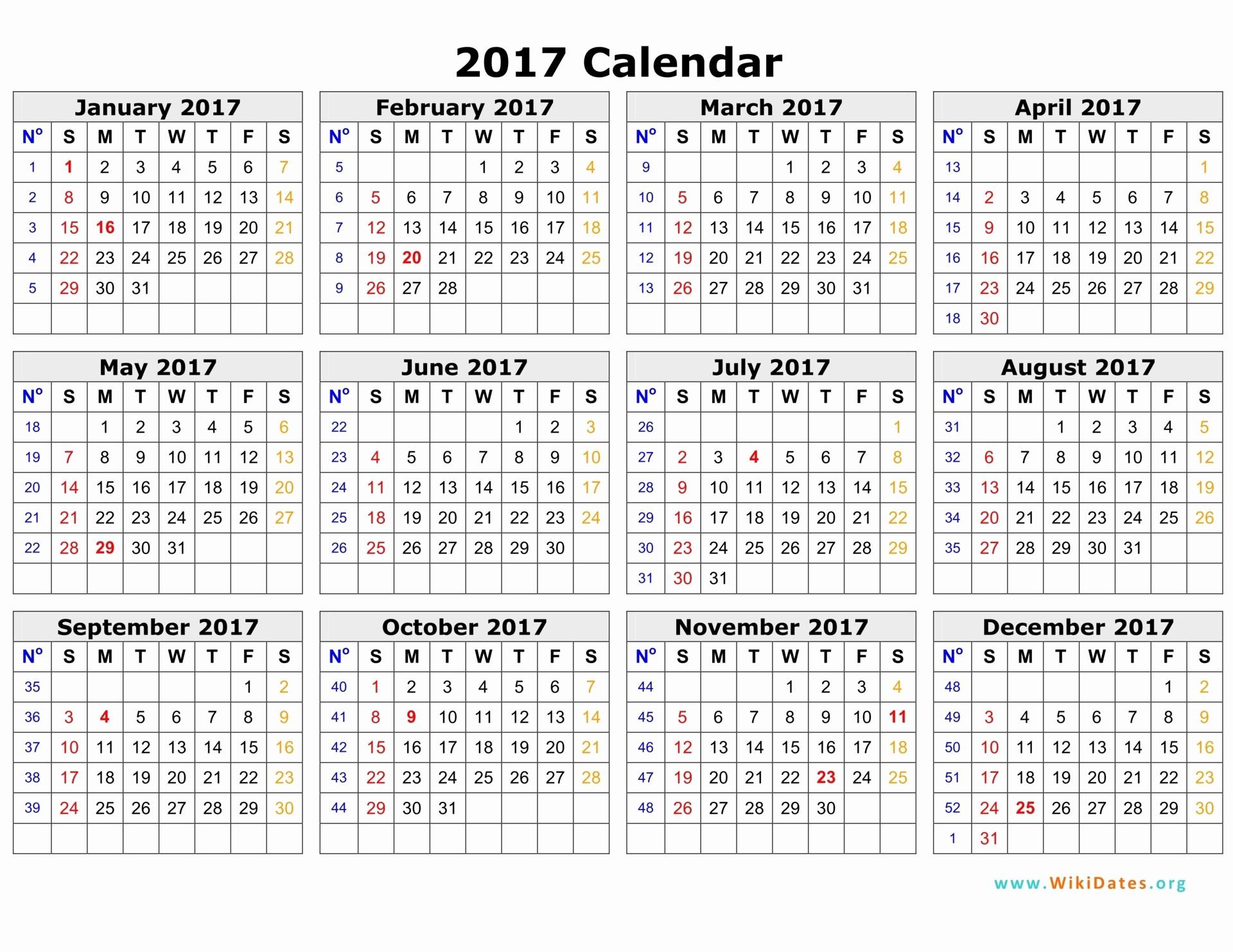 One Page Annual Calendar 2017 Unique 2017 Calendar