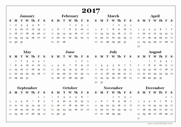 One Page Annual Calendar 2017 Unique 2017 Yearly Blank Calendar Template Free Printable Templates