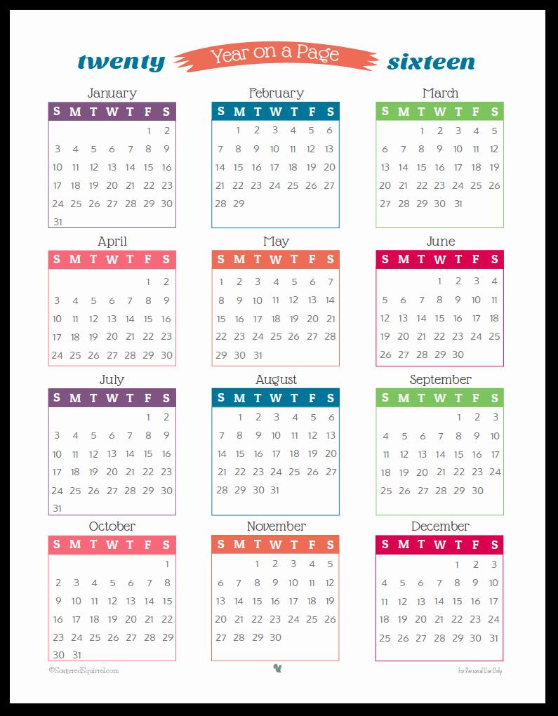 One Page Annual Calendar 2017 Unique September 2016 Calendar Printable E Page – 2017