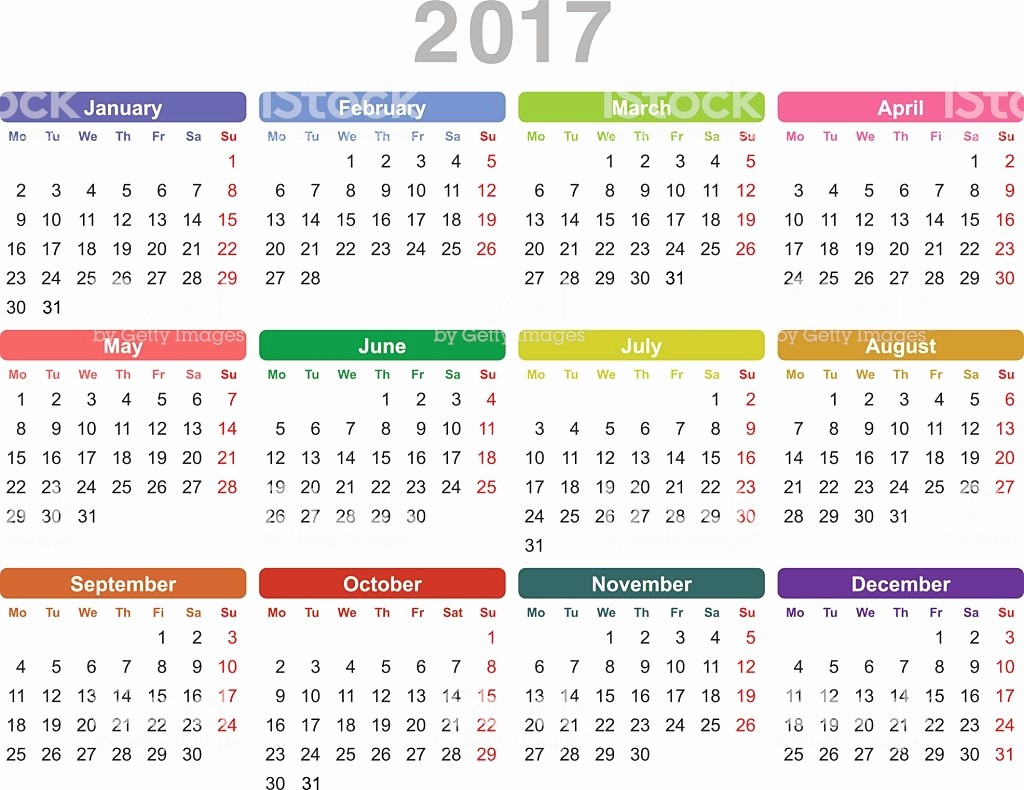 One Page Annual Calendar 2017 Unique Year 2017 Annual Calendar Stock Vector Art