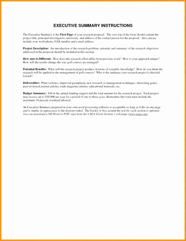 One Page Executive Summary Example Awesome Executive Summary Sample for Proposal Inspirational E