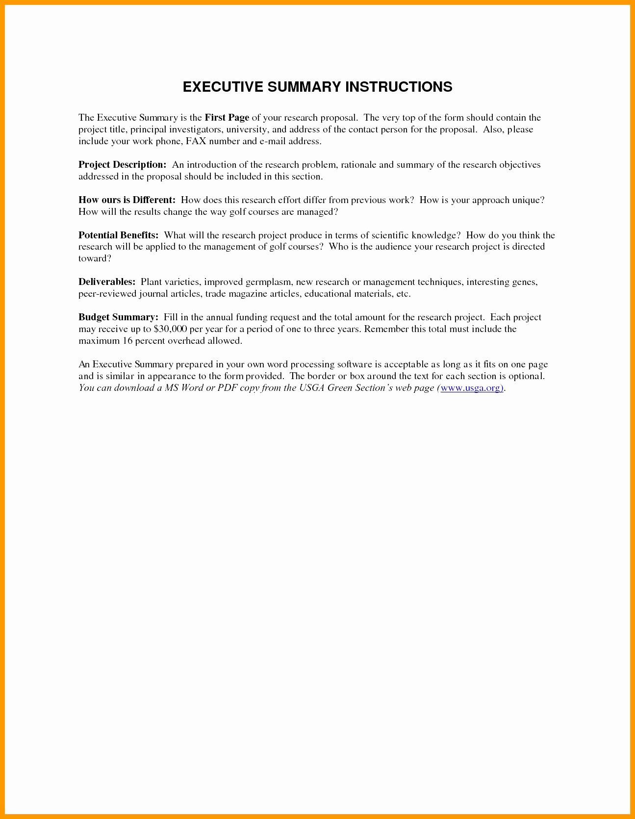One Page Executive Summary Example Luxury E Page Executive Summary Sample 18 Band Ible