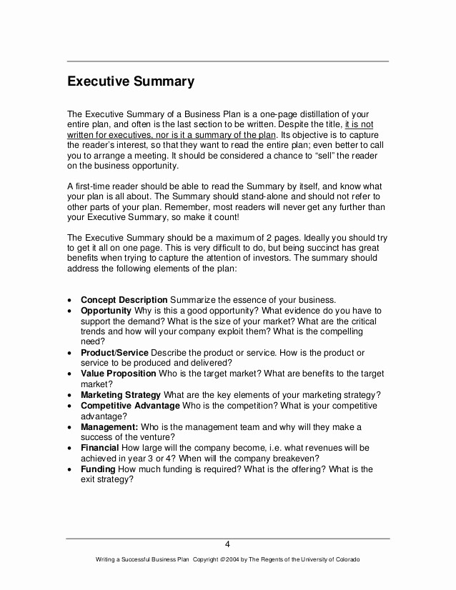 One Page Executive Summary Example New How to Write A Great Business Plan