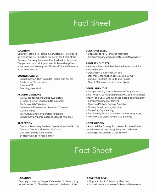 One Page Fact Sheet Template Fresh Fact Sheet Template 19 Free Sample Example format