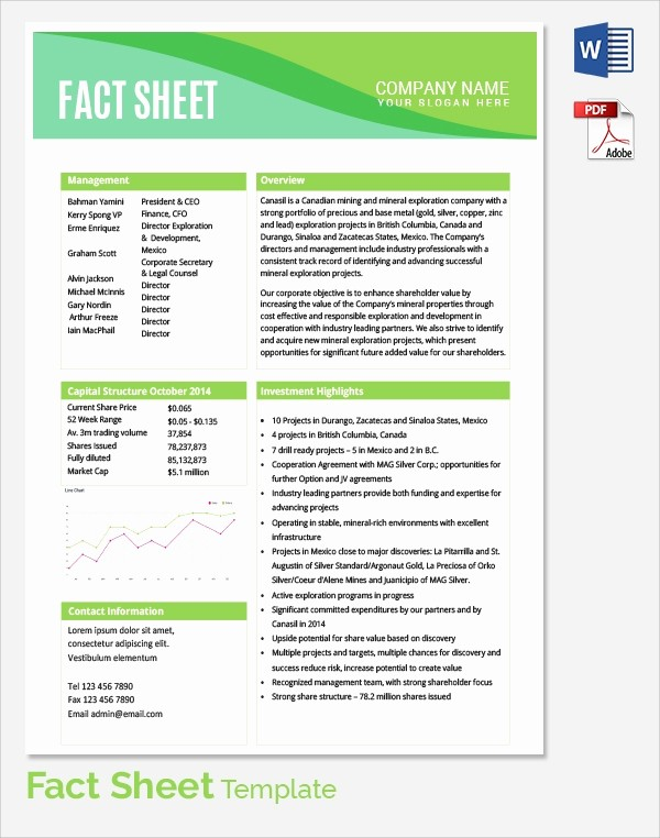 One Page Fact Sheet Template Fresh Sample Fact Sheet Template 21 Free Download Documents