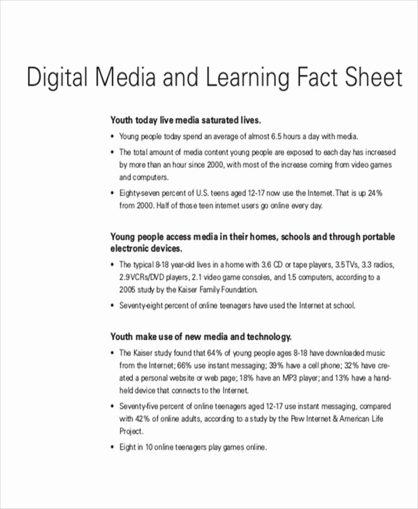 One Page Fact Sheet Template Lovely 30 Fact Sheet Samples