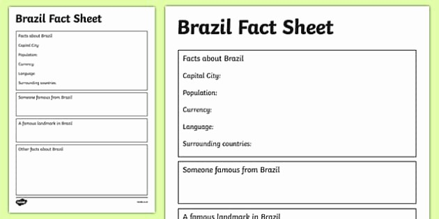 One Page Fact Sheet Template Luxury Brazil Factsheet Writing Template Brazil Brazil Fact Sheet
