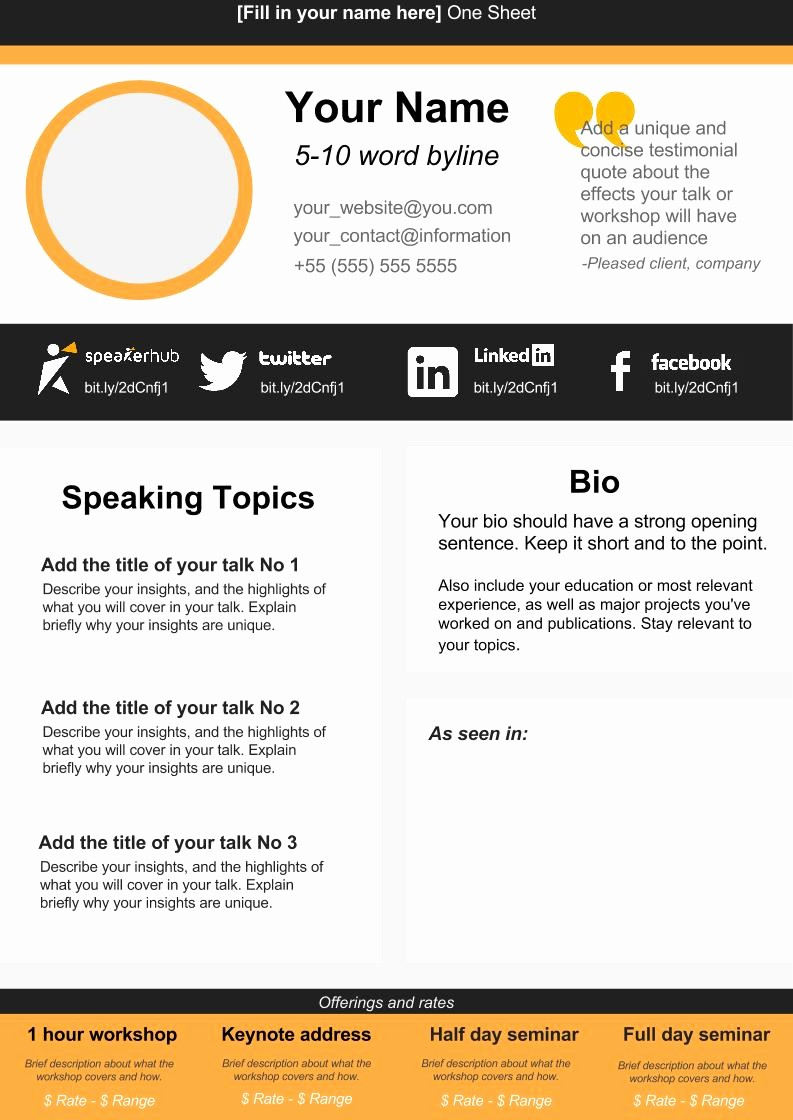One Page Fact Sheet Template Luxury Speaker E Sheet Template