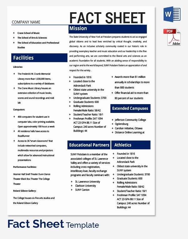 One Page Fact Sheet Template New Fact Sheet Template 32 Free Word Pdf Documents