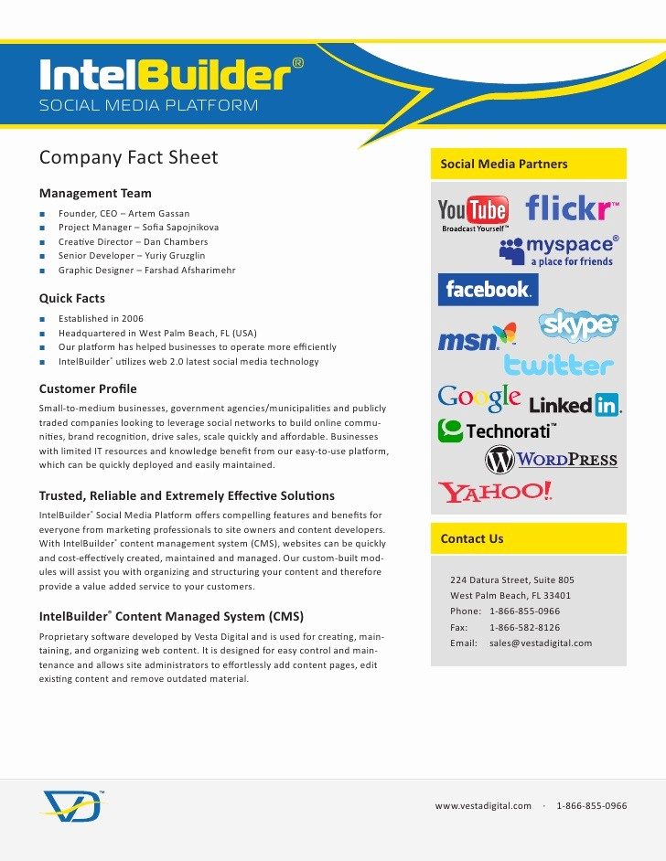 One Page Fact Sheet Template Unique Intelbuilder social Media Platform Pany Fact Sheet