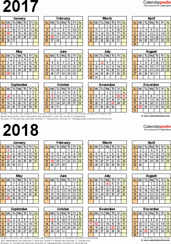 One Page Year Calendar 2017 Awesome 2017 2018 Calendar Free Printable Two Year Word Calendars